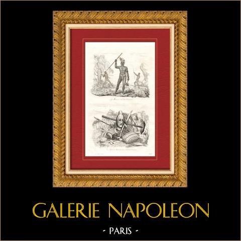 Nouvelle-Calédonie - Guerriers - Armes et Ustensiles | Gravure sur acier originale dessinée par Louis Auguste de Sainson. 1835