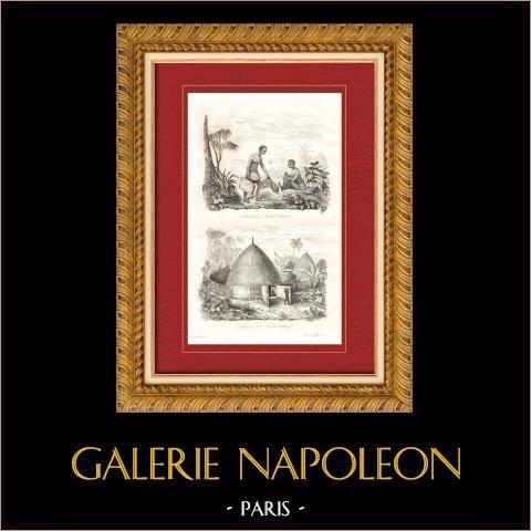 Nouvelle-Calédonie - Kanak - Canaque - Femme et Habitation | Gravure sur acier originale. Anonyme. 1835