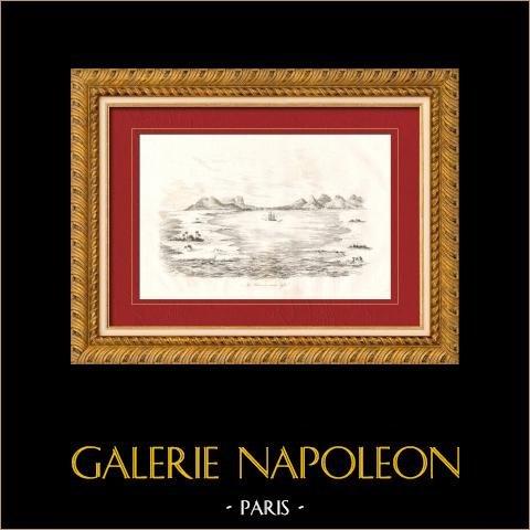Iles Carolines - Ile Ualan à Marée Basse - Kosrae - Kusaie | Gravure sur acier originale dessinée par Louis Auguste de Sainson. 1835