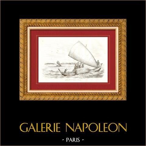Iles Carolines - Ile Tamatam - Pulap - Grands Pros - Bateau | Gravure sur acier originale dessinée par Louis Auguste de Sainson. 1835