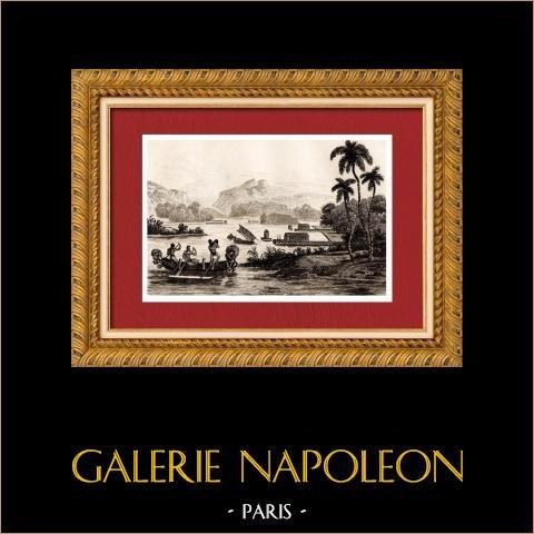 Papua Nuova Guinea - Veduta di Dori di Porto | Incisione su acciaio originale disegnata da Domeny De Rienzi, incisa da Desaulx. 1836