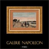 Veduta di Cairo - Nilo in Boulaq (Egitto) | Incisione xilografica originale secondo Wauters incisa da Rousseau. Acquerellata a mano. 1892
