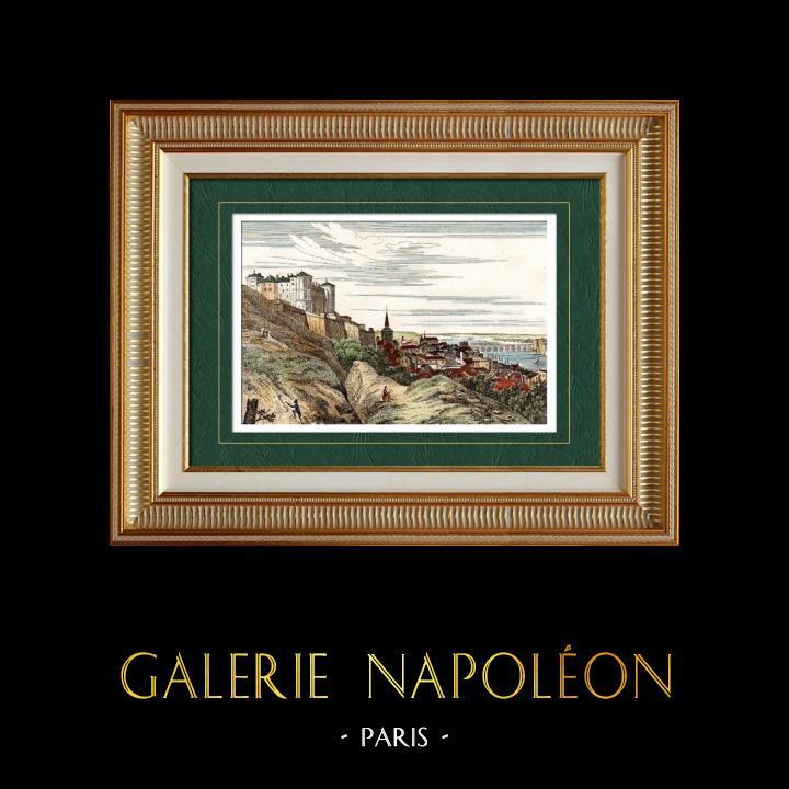 Antique Prints & Drawings | View of Saumur (Maine-et-Loire - France) - Pays de la Loire | Intaglio print | 1835