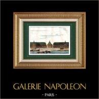 Vista di Parigi - Place Royale - Place des Vosges | Incisione su acciaio originale disegnata da Dubois, incisa da Dubois. Acquerellata a mano. 1835