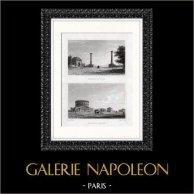 Vue de Paris - Barrière du Trône - Barrière Saint Martin - Mur des Fermiers généraux | Gravure sur acier originale dessinée par F. Nash, gravée par W.R. Smith. 1820