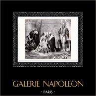 Peinture française - L'exécution de Lady Jane Gray (Paul Delaroche) | Lithographie originale dessinée par Paul Delaroche, lithographiée par Frey. 1824