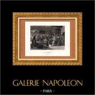 Peinture française - XIXème Siècle - La Taverne - Le Fils du Diable (Lorentz) | Gravure sur acier originale dessinée par Lorentz, gravée par J. Roze. 1850