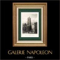 Monuments Historiques de Paris - Tour Saint-Jacques en 1680 | Gravure sur acier originale dessinée par Petit, gravée par Outhwaite. 1840