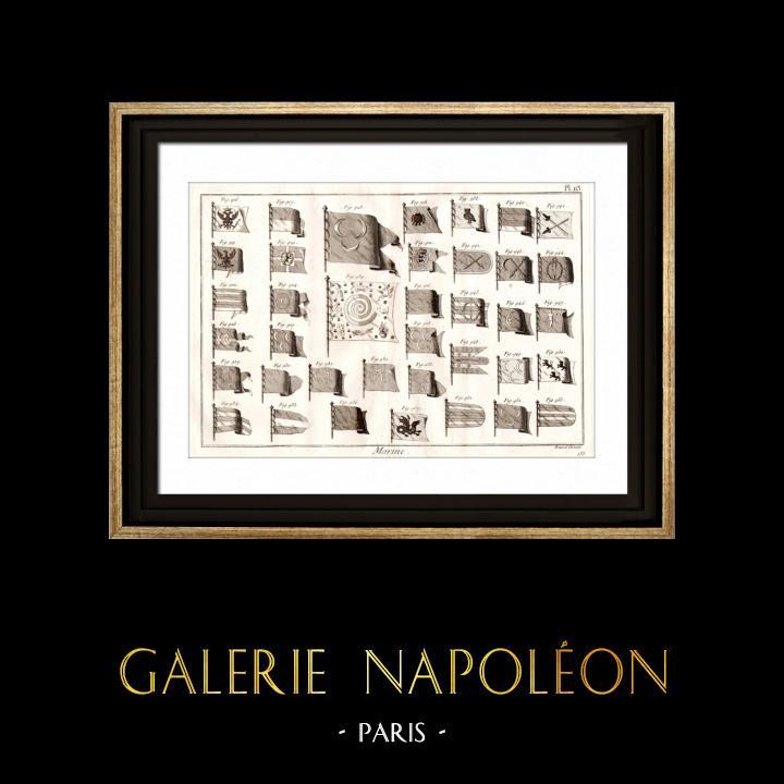 Gravures Anciennes & Dessins | Marine Royale Française - 1787 - Pavillon | Gravure sur cuivre | 1787