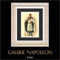 Jacques de Molay, Grand Master of the Knights Templar (Emile de Sainzec) | Original watercolor painting on paper by the painter Emile de Sainzec. 1984