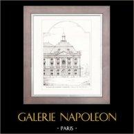 Disegno di Architetto - Architettura - Bordeaux - Place de la Bourse (André Narjoux) | Incisione xilografica originale disegnata da André Narjoux. 1907