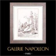 Drawing of Architect - Architecture - Paris - Monument of Guy de Maupassant (M. Deglane)