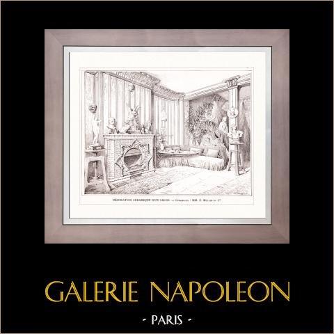 Dessin d'Architecte - Architecture - Céramique d'un Salon (E. Müller et Cie) | Gravure sur bois originale dessinée par V. Dargaud. 1907