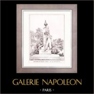 Dessin d'Architecte - Architecture - Paris - Monument de Nicolas-Toussaint Charlet (M. Charpentier) | Gravure sur bois originale dessinée par H. Toussaint. 1907