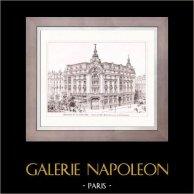 Disegno di Architetto - Architettura - Parigi - Edificio - Immeuble de la New York (Morin-Goustiaux & Le Cardonnel) | Incisione xilografica originale disegnata da V. Dargaud. 1907