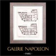 Disegno di Architetto - Architettura - Parigi - Edificio - Immeuble de la New York (Morin-Goustiaux & Le Cardonnel) | Incisione xilografica originale. Anonima. 1907