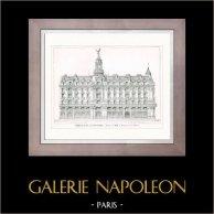 Disegno di Architetto - Architettura - Parigi - Edificio - Immeuble de la New York (J. Bernard & E. Robert) | Incisione xilografica originale disegnata da V. Dargaud. 1907