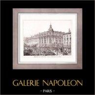 Disegno di Architetto - Architettura - Parigi - Edificio - Immeuble de la New York (Maistrasse & Berger) | Incisione xilografica originale. Anonima. 1907