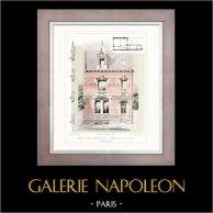 Dessin d'Architecte - Architecture - Petit Hôtel Particulier à Saint-Quentin - Aisne (M. Israël) | Typogravure originale dessinée par E. Rivoalen. 1912