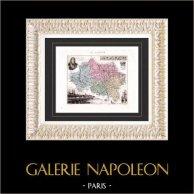 Carte de France - 1881 -  Allier (Maréchal de Villars - Moulins) | Gravure sur acier originale gravée par Laroulandie. Colorée à la main (coloris d'époque). 1881