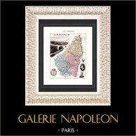 Carte de France - 1881 -  Ardèche (Privas - Montgolfier - Olivier de Serres) | Gravure sur acier originale gravée par Legénisel. Colorée à la main (coloris d'époque). 1881