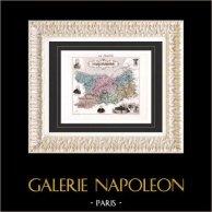 Carte de France - 1881 -  Calvados (Caen - Dumont d'Urville - Laplace - Auber) | Gravure sur acier originale gravée par Legénisel & Barbier. Colorée à la main (coloris d'époque). 1881