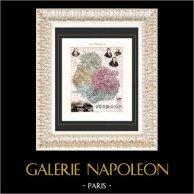 Carte de France - 1881 -  Côte d'Or (Dijon - Bossuet - Carnot - Buffon - Monge) | Gravure sur acier originale. Anonyme. Colorée à la main (coloris d'époque). 1881