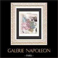 Mapa de Francia - 1881 - Gironde (Burdeos - Bordeaux - Montesquieu - Decazes) | Original acero grabado grabado por Fillatreau. Coloreado a mano de epoca. 1881