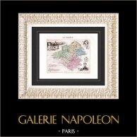 Mapa de Francia - 1881 - Loire Inférieure (Nantes - Olivier de Clisson - Cambronne) | Original acero grabado. Anónimo. Coloreado a mano de epoca. 1881
