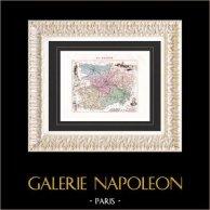 Landkarte von Frankreich - 1881 - Maine et Loire (Angers - Pierre Jean David - Dupetit-Thouars) | Original stahlstich. Anonyme. Alt-handkoloriert. 1881
