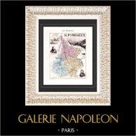 Carte de France - 1881 -  Hautes-Pyrénées (Bagnères de Bigorre - Tarbes - Gautier) | Gravure sur acier originale gravée par Legénisel & Barbier. Colorée à la main (coloris d'époque). 1881