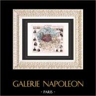 Carte de France - 1881 -  Ile de France - Seine (Paris - Georges Sand - Voltaire - Baraguey - Berryer) | Gravure sur acier originale gravée par Bizet, Legénisel & Barbier. Colorée à la main (coloris d'époque). 1881