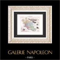 Carte de France - 1881 -  Vaucluse (Avignon - Fléchier - Raspail) | Gravure sur acier originale. Anonyme. Colorée à la main (coloris d'époque). 1881