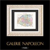Carte de France - 1881 -  Paris et son Mur d'Enceinte | Gravure sur acier originale gravée par Artus. Colorée à la main (coloris d'époque). 1881