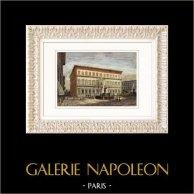 Vue de Rome - Palais Farnèse - Palazzo Farnese (Italie) | Gravure sur bois originale dessinée par Clerget, gravée par J. Gauchard. Aquarellée à la main. 1877