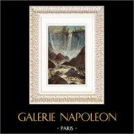 Vue de la Cascade de Terni - Cascata delle Marmore - Ombrie (Italie) | Gravure sur bois originale. Anonyme. Aquarellée à la main. 1877