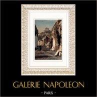 Vue de Rome - Mont Palatin - Ruines des Palais Impériaux (Italie) | Gravure sur bois originale gravée par J. Gauchard. Aquarellée à la main. 1877