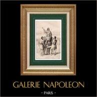 Germanie - Peuple Germanique - Inauguration sur un Bouclier | Gravure sur acier originale gravée par L. Massard. 1838