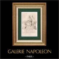 Saint Pierre donne le Pallium au Pape Léon et la Bannière à Charlemagne | Gravure sur acier originale gravée par Torlet. 1838