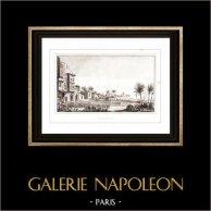 Guerres napoléoniennes - Campagne d'Égypte - Soldat Napoléonien - Rachid - Rosette (Egypte) | Gravure sur cuivre originale. Anonyme. 1830