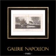 Napoleonkrigen - Egypten - Brand i Salmyeh (Egypten) | Original kopparstick graverade av Pillement. 1830
