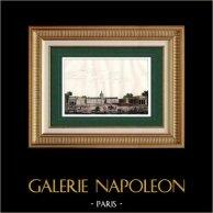 Vue de Paris - Hôtel des Invalides - Exposition Universelle - Industrie - 1798 | Gravure sur acier originale dessinée par Danvin, gravée par Mercier. Aquarellée à la main. 1835