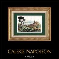 Vue de Cannes (Alpes-Marítimes - France) | Gravure sur acier originale dessinée par Hostein, gravée par Couché, Desaulx. Aquarellée à la main. 1835