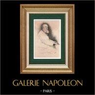 Portrait de Charles Gounod (1818-1893) - Compositeur Français   Gravure à l'eau-forte originale dessinée par Decisy. 1893