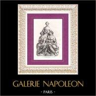 Estatua - Diana de Poitiers y sus dos hijas (Germain Pilon) | Original litografia dibujado por Deveria. 1834