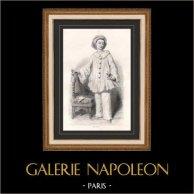 Ritratto di Paul Legrand (1816-1898) - Attore - Pierrot | Incisione su acciaio originale disegnata da Charles-Michel Geoffroy, incisa da Charles-Michel Geoffroy. 1859