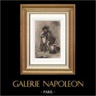 Nano Mendigo (Alexandre Falguiere) | Incisione acquaforte originale disegnata da Alexandre Falguiere. 1888