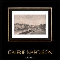 Vista de Nantes - Quai de l'Hopital (Francia) | Original acero grabado grabado por Salathé. 1850
