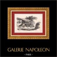 Vue de Saint-Gingolph - Canton du Valais (Suisse - France) - Haute-Savoie | Lithographie originale dessinée par Diday, lithographiée par Briquet & Dubois. 1830