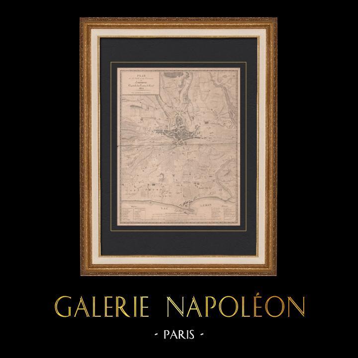 Gravures Anciennes & Dessins   Carte de Lausanne - Canton de Vaud (Suisse)   Taille-douce   1824
